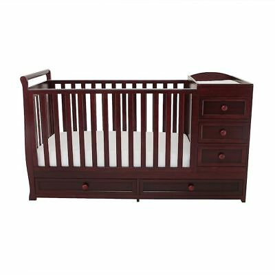 Baby Furniture 3-in-1 Crib Cribs Bedding Changer Combo Set Sets Rail Cherry