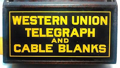 Vintage Western Union Telegraph Wood Display Counter Wall Box Advertising!!!