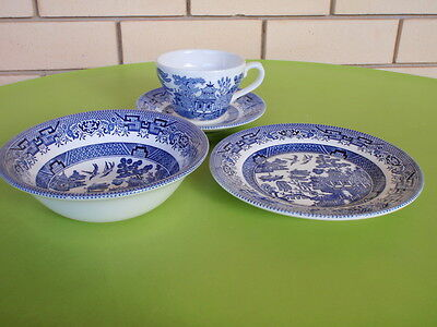 Churchill  - Bowl / Side Plate / Cup & Saucer  Blue White