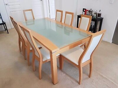 Glass dining table + 8 chairs