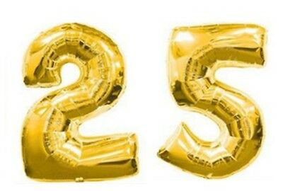 40 Large 25 Gold Number Balloons 25th Birthday Anniversary Foil Float Helium