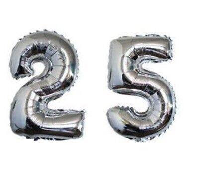 40 Large Happy 25 Silver Number Balloons 25th Birthday Anniversary Foil Float