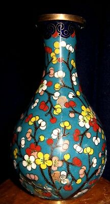 Teal, Red, Yellow And White Floral Cloisonne Brass Vase China