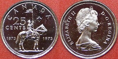 Proof Like 1973 Canada RCMP 25 Cents From Mint's Roll