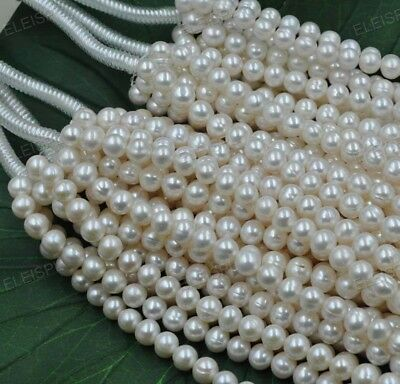 5 strands white 100% real freshwater pearl free shipping 9mm near round beads