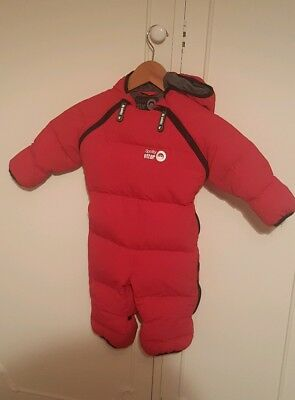 Spotty Otter Down filled chillibug  snowsuit 6-12 months in red.