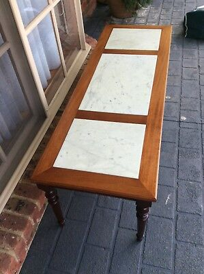 antique table with 3 marble inlays