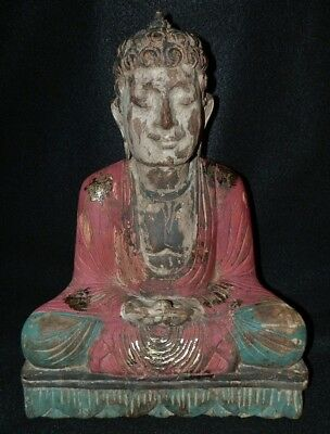 "Rare 1800s Antique 13"" Polychrome Lacquer Old Shrine Wood Buddha Temple Statue"