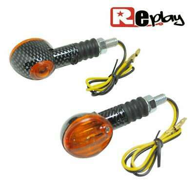 2 Clignotant Replay Micro Oval Universel Orange/Carbone Avec Temoin Maxiscooter