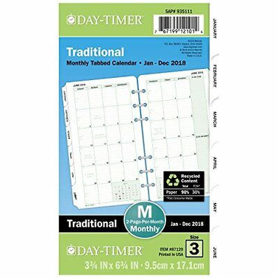 Day Timer Planner Refill 2018 2 Pg/Month Jan 18 - Dec 18  FAST PING