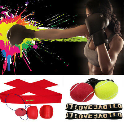 Sport Boxing Punch Exercise Fight Ball W/Head Band For Reflex Speed Training AU