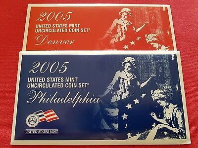 2005 United States Uncirculated Coin Set - P & D US Mint Sets - 11x 2 Coin Sets!