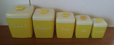 Vintage Retro Rockabilly Nally Ware Yellow and White Canister Set