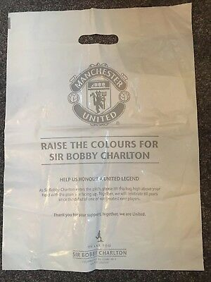 Manchester United Bobby Charlton plastic limited carrier bag. History.