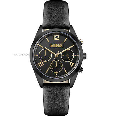 New BARBOUR INTERNATIONAL Cleadon BB012BKBK Chronograph Black Leather Watch £215