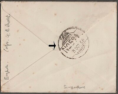 SINGAPORE 1946 RARE FPO 594 2nd WW AIRMAIL COVER TO HERTS UK