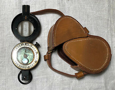 Military Prismatic Pocket Compass in fitted leather case - Acquired in England -
