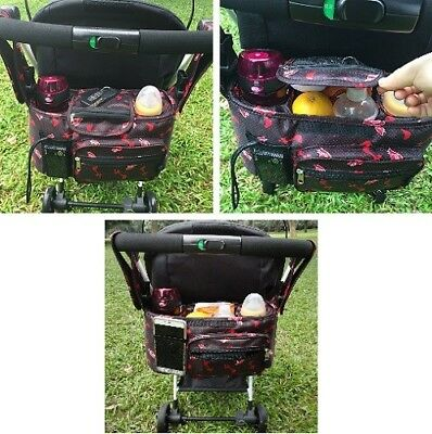 Stroller Organizer Bag Cup Holders with Removable Shoulder Strap XLStorage Space