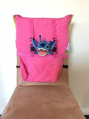 *USED ONCE* Kiskise Travel Baby Portable High Chair Feeding Seat Fold- Hot Pink