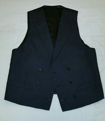 Charles Tyrwhitt Double Breasted Waistcoat-40R 100% Wool Dark Grey Wedding,Ascot
