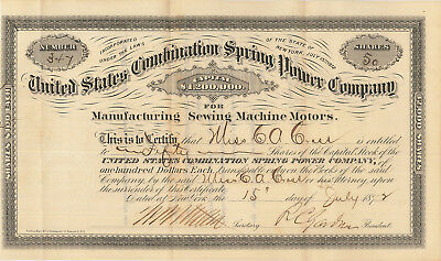 United States Combination Spring Power Co. > 1872 sewing mfg stock certificate