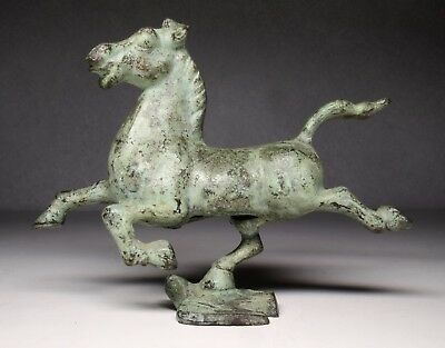 Cast Iron Virdigris Finish Galloping Horse on Flying Swallow