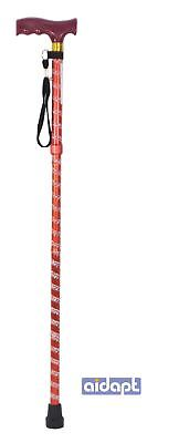 Extendable Plastic Handled Walking Stick Wth Engraved Pattern Red