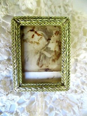 Antique French Continental Miniature Brass Photo Frame FREEPOST