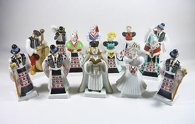 Herend, Bridal Party, Wedding Collection Of 13 Handpainted Porcelain Figurines !