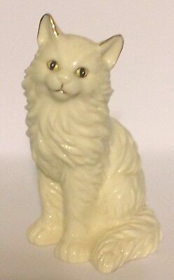 White Cat Figurine with Gold Inlay Accents, Porcelain 1999 Westland #9246