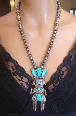 Rare Old Signed ZUNI KACHINA STERLING TURQUOISE Pendant Fluted Bead Necklace