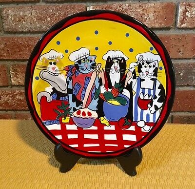 """Catzilla 8"""" Round Plate Candace Reiter Designs Cooking Cats Porcelain 2002"""