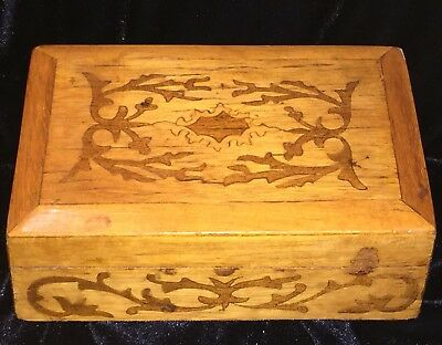 Vintage Hand Crafted Wooden Inlaid Trinket Jewelry Box Velvet Lined and Padded