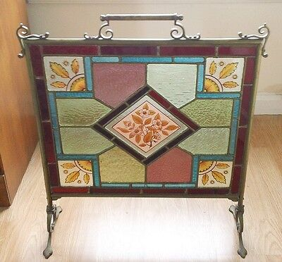 Antique/vintage Gorgeous Stained Glass Hand Painted Brass Fire Screen