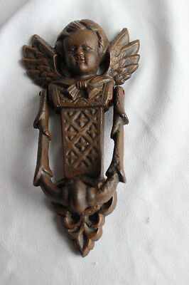 Rare Vintage Antique ANGEL  CAST IRON Heavy DOOR KNOCKER Outside Home Decor