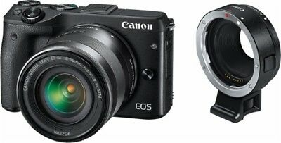 Canon - EOS M3 Mirrorless Camera with EF-M 18-55mm Lens and EF to EF-M Adapter