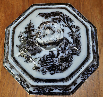 Antique Flow Mulberry Staffordshire Ironstone Tureen Serving Dish Lid Lahore