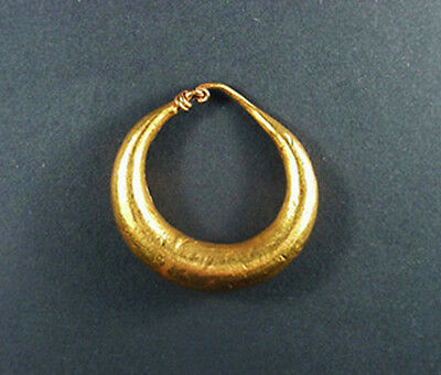 Large Ancient Gold Hoop Earring Greco - Roman 200 Bc - 100 Ad