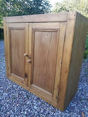Victorian Rustic Solid Old Pine Cupboard With Shelves - Stripped & Waxed