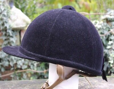 Just Togs Black Show Hat with Flesh Coloured Leather Strap Size 55 - 6 3/4 Mint