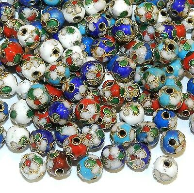 CL174p Assorted Color with Gold 7mm Round Enamel on Metal Cloisonne Beads 24pc