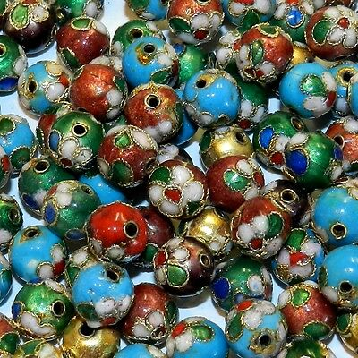 CL175p Assorted Color with Gold 9mm Round Enamel on Metal Cloisonne Beads 24pc