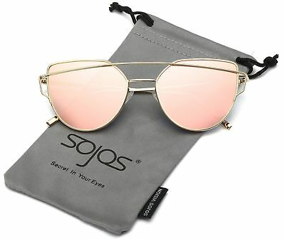 SojoS Cat Eye Mirrored Flat Lenses Street Fashion Metal Frame Women Sunglasse...