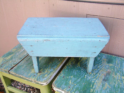 Vintage Primitive Wood Wooden Footstool Painted Turquoise Plant Stand Farmhouse
