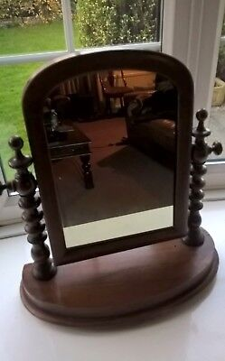 Antique Wooden Victorian Mahogany Dressing Table Swivel Mirror & Turned Stand