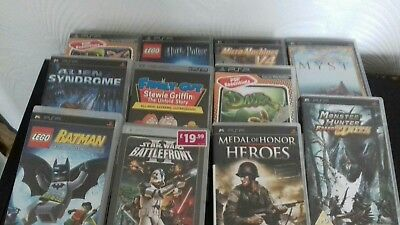 Sony PSP console bundle with 13 games - console not charging see description