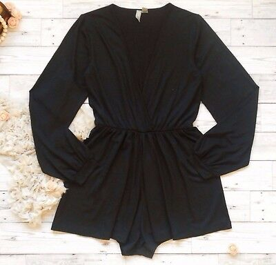 ASOS Black Long Bell Sleeve Plunge Wrap Jersey Playsuit UK 4 (UK 8) PETITE