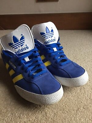 Men's Adidas Trainers Size 11 Suede Blue/white/yellow