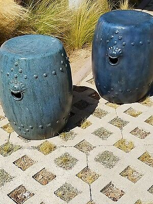 Gorgeous Pair Of Unusual Antique Ceramic Chinese Garden Seats Stools - Blue