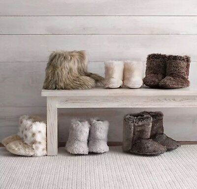 Restoration Hardware Baby & Child Luxe Fur Bootie Slippers Mink Childs Large NWT